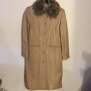 Classic Leather Coat with a Faux Fur Collar NWOT
